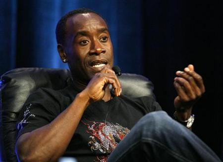 Actor Don Cheadle gestures during a panel for the Starz drama series ''Crash'' at the Television Critics Association 2008 summer press tour in Beverly Hills, California July 11, 2008. REUTERS/Mario Anzuoni