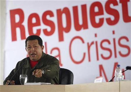 Venezuelan President Hugo Chavez speaks during a meeting with economists to analyze the current global financial crisis in Caracas October 8, 2008. REUTERS/Alejandro Rustom