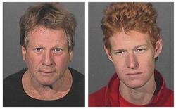<p>L'attore Actor Ryan O'Neal (a sinistra) e suo figlio Redmond O'Neal in un'immagine diffusa dalla polizia della contea di Los Angeles. REUTERS/Los Angeles County Sheriffs Department/Handout</p>