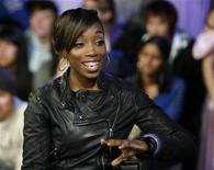 <p>Singer Estelle gestures during an interview for the television show 'MuchOnDemand' in Toronto May 12, 2008. REUTERS/ Mike Cassese</p>