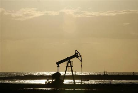 An oil pump seen on the shore near Santa Cruz del Norte, Cuba in this June 5, 2008 file photo. REUTERS/Claudia Daut