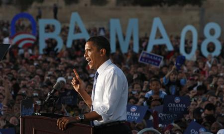 Democratic presidential nominee Senator Barack Obama (D-IL) speaks at a campaign rally in Kansas City, October 18, 2008. REUTERS/Jim Young