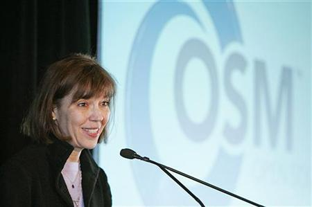 Journalist Judith Miller, formerly of the New York Times, speaks about journalism, blogging and shield laws during the Open Source Media conference in New York City November 16, 2005. REUTERS/Seth Wenig/Handout