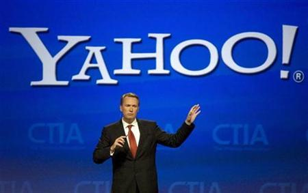 Marco Boerries, Executive Vice President, of Connected Life, Yahoo!, announces Blueprint, Yahoo!'s open mobile platform and developer language, during his keynote address at CTIA Wireless I.T. & Entertainment 2008 in San Francisco, California, September 10, 2008. REUTERS/Kimberly White/YAHOO!/Handout