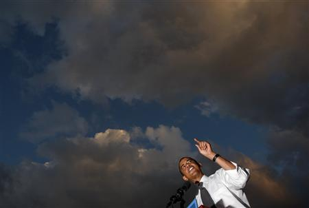 Democratic presidential nominee Senator Barack Obama (D-IL) speaks at a campaign rally at Bicentennial Park in Miami, Florida, October 21, 2008. REUTERS/Jim Young
