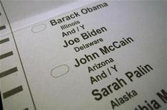 <p>Бюллетень для президентских выборов в США. Кандидат в президенты США от Демократической партии Барак Обама и его соперник-республиканец Джон Маккейн в четверг схлестнулись в споре об экономике на последнем отрезке схватки за Белый дом. REUTERS/Jim Bourg US PRESIDENTIAL ELECTION CAMPAIGN 2008 (USA)</p>
