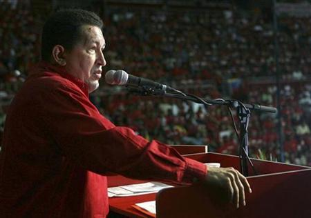 Venezuela's President Hugo Chavez speaks to supporters during a meeting of Venezuela Socialist Party (PSUV) in Caracas September 28, 2008. REUTERS/Miraflores Palace/Handout