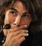 <p>Foto de arquivo do tenista espanhol Rafael Nadal durante coletiva em Oviedo. De olho na Copa Davis, Nadal desiste de Masters Cup por lesão.REUTERS/Eloy Alonso</p>