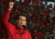 <p>Venezuela's President Hugo Chavez speaks to supporters during a meeting of Venezuela Socialist Party (PSUV) in Caracas September 28, 2008. REUTERS/Miraflores Palace/Handout</p>