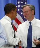 <p>Barack Obama con Eric Schmidt . REUTERS/Jim Young</p>