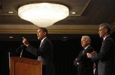 <p>President-elect Barack Obama (L) answers a question as Vice President-elect Joseph Biden (2nd L) and Chief-of-Staff Rahm Emanuel look on during his first news conference following his election victory in Chicago, November 7, 2008. REUTERS/John Gress</p>