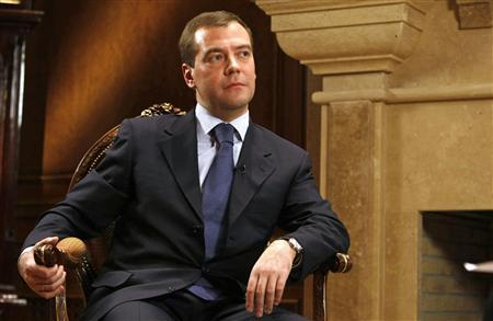 Russia's President Dmitry Medvedev listens to a question during an interview at the presidential residence in Gorki outside Moscow prior to the Russia-EU Summit, November 13, 2008. REUTERS/RIA Novosti/Kremlin/Astakhov Dmitry
