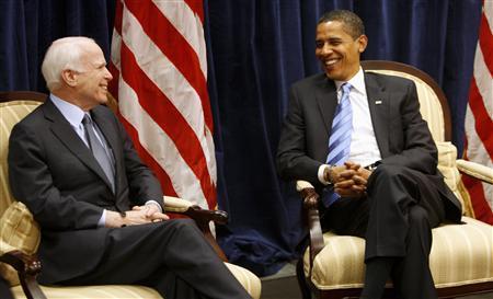 President-elect Barack Obama and Senator John McCain (R-AZ) hold talks during a meeting in Obama's transition office in Chicago, November 17, 2008. REUTERS/John Gress