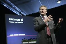 <p>Carl-Henric Svanberg, P-DG d'Ericsson. L'équipementier télécoms suédois indique qu'il dépassera son objectif de réduction des coûts de quatre milliards de couronnes (387 millions d'euros) cette année. /Photo prise le 9 avril 2008/REUTERS/Fredrik Persson/Scanpix</p>