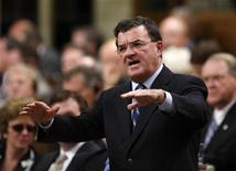 <p>Finance Minister Jim Flaherty speaks during Question Period in the House of Commons on Parliament Hill in Ottawa November 20, 2008. REUTERS/Chris Wattie</p>