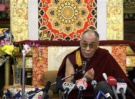 Tibetan spiritual leader, the Dalai Lama, speaks during a news conference in the northern Indian hill town of Dharamsala November 23, 2008. REUTERS/Abhishek Madhukar