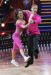 ''Dancing with the Stars'' contestants Brooke Burke and her professional dance partner Derek Hough dance during the program November 24, 2008 in this ABC network publicity photograph. REUTERS/Kelsey McNeal/ABC/Handout