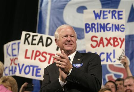 Incumbent Senator Saxby Chambliss reacts as Alaska Governor Sarah Palin addresses the crowd during a rally in Duluth, Georgia December 1, 2008. REUTERS/Tami Chappell