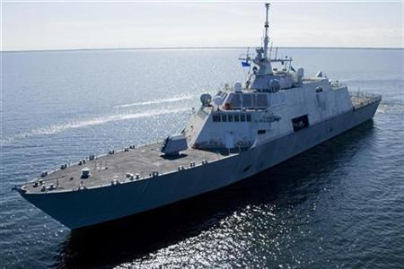 The future USS Freedom (LCS 1) undergoes builder's trials on Lake Michigan near Marinette, Wisconsin in this picture taken July 28, 2008. REUTERS/U.S. Navy/Lockheed-Martin/Handout