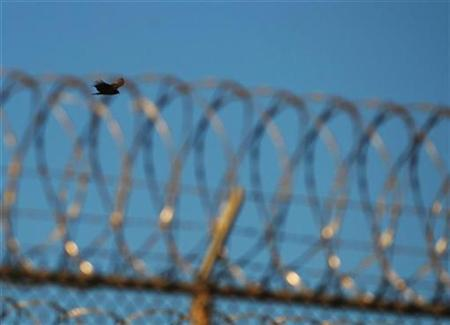 A bird flies above the razorwire-topped fence of the ''Camp Five'' detention facility at U.S. Naval Station Guantanamo Bay December 10, 2008, in this image reviewed by the U.S. military. REUTERS/Mandel Ngan/Pool