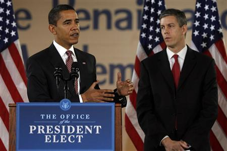 President-elect Barack Obama (L) answers questions with Chicago Public Schools Chief Arne Duncan, his nominee for secretary of education, during a news conference at the Dodge Renaissance Academy in Chicago December 16, 2008. REUTERS/Jeff Haynes