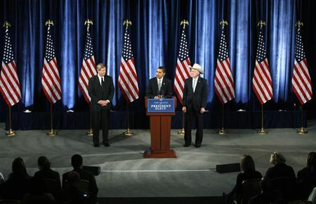 President-elect Barack Obama introduces former Iowa governor Tom Vilsack (L) as his nominee for secretary of agriculture and Colorado Senator Ken Salazar (R) as the nominee for secretary of interior during a news conference in Chicago December 17, 2008. REUTERS/Jeff Haynes