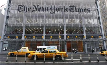 The headquarters of the New York Times is pictured on 8th Avenue in New York in this February 5, 2008 file photo. China, widely criticized for its censorship of the media, this week blocked access to The New York Times, the newspaper said on Saturday. REUTERS/Gary Hershorn