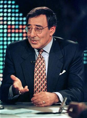 Former Clinton White House chief of staff Leon Panetta gestures during a break in a televised interview with Larry King for the CNN program ''Larry King Live'' March 19, 1998 in Los Angeles. REUTERS/Rose Prouser/Files