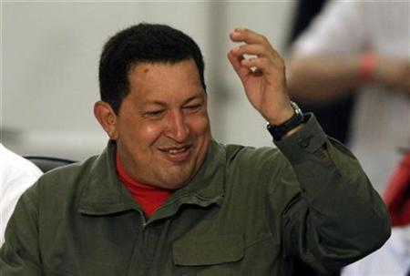 Venezuela's President Hugo Chavez gestures at a summit of leaders from Latin American and Caribbean nations in Costa do Sauipe December 17, 2008. REUTERS/Paulo Whitaker