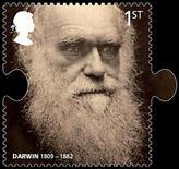 <p>Fotografía de una estampilla postal con la imagen de Charles Darwin, en Londres, 29 dic 2008. Unas iguanas rosas que Charles Darwin no conoció durante sus visitas a las islas Galápagos podrían aportar pruebas de la divergencia de las especies mucho antes que los famosos pinzones del naturista inglés, informó un grupo de científicos. REUTERS/Royal Mail</p>