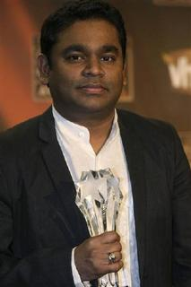Composer A.R. Rahman poses with his award for Best Composer for ''Slumdog Millionaire'' at the 14th annual Critics' Choice awards in Santa Monica, California in this January 8, 2009 file photo. REUTERS/Hector Mata