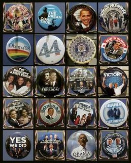 A combination photo shows souvenir buttons displayed for the upcoming U.S. Presidential Inauguration are seen in a store in Washington January 9, 2009. U.S. President-elect Barack Obama will be sworn in as the 44th President of the United States on January 20. Pictures taken January 9, 2009. REUTERS/Molly Riley