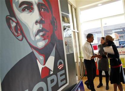 Shepard Fairey's posters of Obama became the iconic image of the historic campaign. After a bit of digging by a photographer and a blogger, it turns out that Fairey's source material was a photo by a Reuters photographer.REUTERS/Jim Young