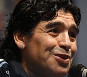 """<p>Técnico da Argentina, Diego Maradona, durante coletiva de imprensa em Buenos Aires nesta sexta-feira. Para Maradona, regras do prêmio da Fifa são """"burras"""". REUTERS/Enrique Marcarian</p>"""