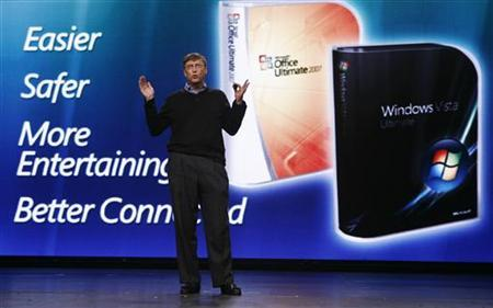 Microsoft Chairman Bill Gates speaks at a news conference event to introduce Windows Vista and Office 2007 in New York January 29, 2007. REUTERS/Shannon Stapleton