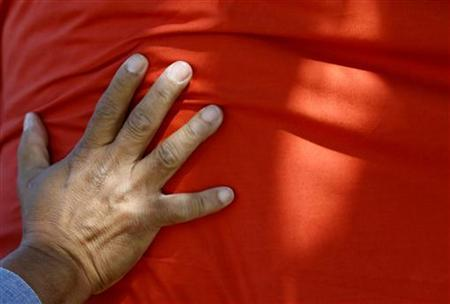 A demonstrator wraps a red bolt of cloth around a tree during a rally in Sydney October 13, 2007. REUTERS/Tim Wimborne