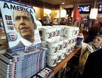<p>Obama products are pictured on display as people shop for souvenirs the day before President-elect Barack Obama is to be sworn in as the 44th President of he United States, at Pentagon City Mall in Arlington, Virginia January 19, 2009. REUTERS/Molly Riley</p>