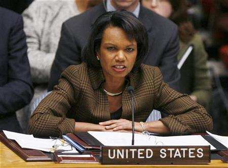 U.S. Secretary of State Condoleezza Rice addresses a meeting of the United Nations Security Council to address piracy off the coast of Somalia at the U.N. headquarters in New York in this file photo from December 16, 2008. REUTERS/Lucas Jackson (
