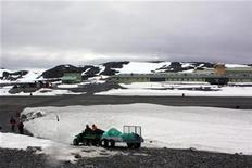 <p>Staff drive towards the British Rothera base on the Antarctic Peninsula on January 14, 2009. The base is high tech and has hot running water, Internet access and a canteen with chefs. Outside the base, camping is more primitive. To match WITNESS-ANTARCTICA</p>