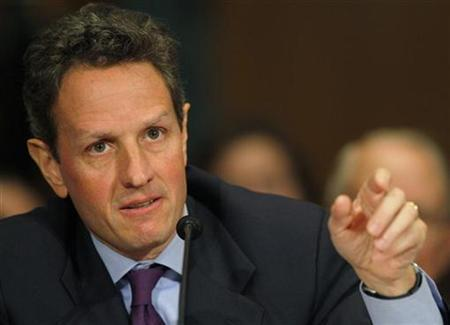 New York Federal Reserve Bank President Timothy Geithner, President Barack Obama's nominee for Treasury Secretary, makes a point during testimony in his confirmation hearing before the Senate Finance Committee on Capitol Hill in Washington, January 21, 2009. REUTERS/Brian Snyder