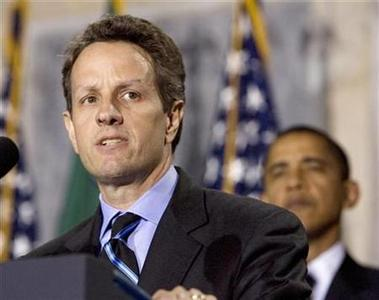 U.S. President Barack Obama (R) listens to Timothy Geithner after he is sworn in as U.S. Treasury Secretary at the Treasury Department in Washington, January 26, 2009. REUTERS/Larry Downing