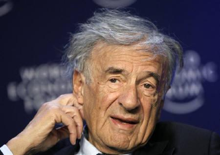 Elie Wiesel attends a session of the World Economic Forum (WEF) in Davos in this January 27, 2008 file photo. REUTERS/Stefan Wermuth