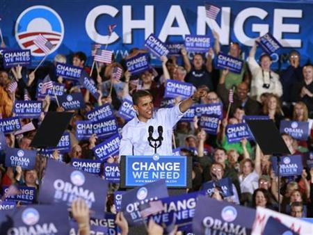 Barack Obama campaigning at an election rally in Missouri, November 1, 2008. Obama hopes to harness the unprecedented army of voters who knocked on doors and made phone calls during his presidential run to help his policies become law now that he's in the White House. REUTERS/Jason Reed