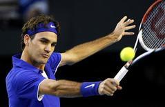 <p>Roger Federer derrotou Andy Roddick e vai para a final do aberto da Austrália REUTERS/Darren Whiteside (AUSTRALIA)</p>