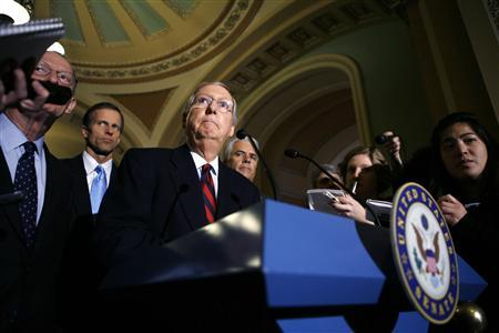 Senate Minority Leader Mitch McConnell (R-KY) speaks to reporters after U.S. President Barack Obama's visit to the Capitol in Washington January 27, 2009. REUTERS/Kevin Lamarque