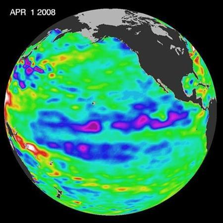 This image from the U.S.-French Jason oceanographic satellite released by NASA April 21, 2008 depicts one of the strongest La Ninas in many years as it is slowly weakening but continues to blanket the Pacific Ocean near the equator. REUTERS/NASA/Handout