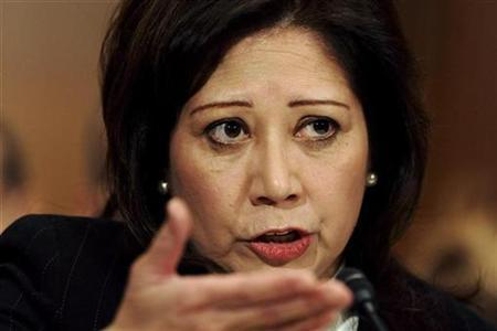 Representative Hilda Solis, Barack Obama's nominee for Secretary of Labor, responds to a question during her confirmation hearing before the Senate Health, Education, Labor and Pensions Committee on Capitol Hill in Washington, January 9, 2009. REUTERS/Jonathan Ernst