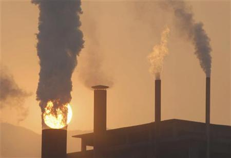 A general view shows chimneys from a cement plant in Baokang, Hubei province January 6, 2008. REUTERS/Stringer