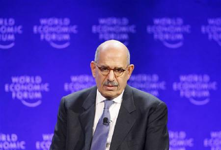 International Atomic Energy Agency Director General Mohamed ElBaradei is seen at the World Economic Forum in Davos January 29, 2009 file photo. A perception among Arab nations that Israel has undermined the Non-Proliferation Treaty (NPT) is a major obstacle to global nuclear disarmament, ElBaradei said on Monday. REUTERS/Christian Hartmann/Files