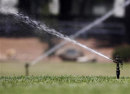 Sprinklers spray water on grass in Los Angeles June 29, 2007. REUTERS/Mario Anzuoni